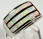 White Fire Opal Inlay Genuine 925 Sterling Silver Band Ring Size 7