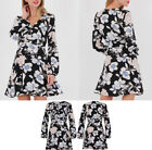Women Floral Long Balloon Sleeve Skater Dress Evening Cocktail Party Mini Dress