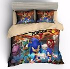 3D Sonic the Hedgehog Anime Kids Bedding Set Sonic Duvet Cover Pillow Sham