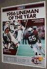1986 NFL Lineman of the Year St Louis Cadinals Bostic/Galloway Schedule Poster