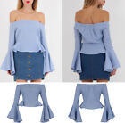 Women Off Shoulder Peplum   Ladies Bardot Long Frilled  Sleeve Gingham Top