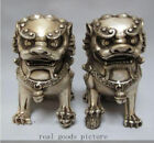 are Chinese Silver Guardian Lion Foo Fu Dog Statue Pair 12cm High