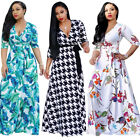 Women's Summer Long Maxi Dress Long Sleeve Evening Cocktail Party Beach Sundress