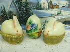 Viintage Easter Bunny on Wicker Basket Candle with Painted Egg Candle UNIQUE