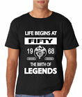 T SHIRT ~ LIFE BEGINS AT FIFTY 50 - 1968 THE BIRTH OF LEGENDS mens tshirt gift