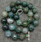 "Natural 12mm Faceted Round Agate Necklac 18 ""Tibetan silver love clasps"