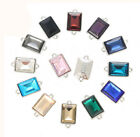 30Pcs Mixed Colors Crystal Glass Stone Rectangle Connectors Links 10x14mm