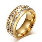 8MM Stainless Steel Couple Eternity Engagement Wedding Band Ring Gold Size 10