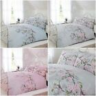 ELOISE FLORAL DUVET COVER SETS - PINK, GREY, DUCK EGG BLUE - DOUBLE & KING SIZE