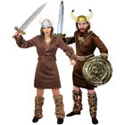 COUPLES VIKING COSTUMES HIS AND HERS ADULT MEDIEVAL WARRIOR FANCY DRESS OUTFIT