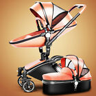 3 in 1 Baby Stroller Leather Carriage Infant Travel System Foldable Pram Baby