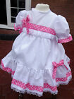 DREAM GIRLS CLEARANCE HOT PINK SPOT LINED NETTED DRESS 6-12 12-18 MONTHS ONLY