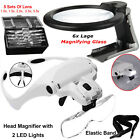 6x Large Magnifying Glass Hands Free + 2 LED Headband Head Magnifier Lamp Lights
