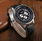 JARAGAR Navitimer Homage Automatic Mechanical Watch Leather Black Submariner Men