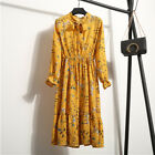 2018 Spring Women Floral Chiffon Long Sleeve Casual Party VintageBoho Maxi Dress