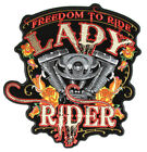 Ride Lady Rider Embroidered Biker Patch with Motor and Flames