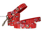 "red minnie mouse medium large dog collar and lead set 1"" 25mm cushioned"