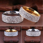 Women Ring 6 Row Czcrystal Stainless Steel Rings Round Wedding Band Jewelry Gift
