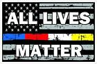 Thin Blue Red White Yellow Line All Lives Matter Decal for Police Fire EMS 911