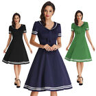 BP Women Vintage Girl Party Cocktail Ball Lapel Collar Sailor Swing Dress Trendy