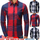 Mens Button Front Plaid Shirts Blouse Long Sleeve Checks Casual Tops T-shirt Tee image