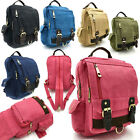 Unisex/ Vintage Canvas Classic Rucksack/Backpack Casual Travel Bag Leather Trim