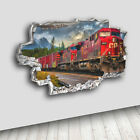 H094 Train Cool Smashed Living Boys Decal Canvas 3D Smashed Hole Wall Vinyl Room