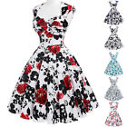 Women Dress Evening Picnic Pinup Retro Housewife Vintage Party Swing Sleeveless
