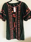 NWT Free Prople Green Embroidered Dress size:Small color -Green