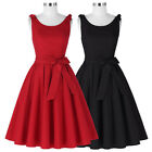 Women Scoop Neck Sleeveless A-line Skater Swing Dress Party Fit & Flare Slim New