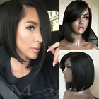 lace front wigs for black hair - Straight Lace Front Human Hair Side Part Wigs Short BOB For Black Women Hair 1B