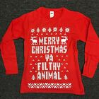 Ugly Christmas Shirt Merry Christmas Ya Filthy Animal Women / Lady RED Shirt  <br/> Free Shipping, US Seller, In Stock Ready to ship