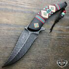 "8.5"" Native American Indian Style Spring Assisted Open Folding Pocket Knife NEW"
