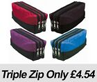 Triple Zip Fabric Pencil Case - Ideal For School/College/Uni.- Make up Bag