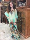 WOMEN DESIGNER CAFTAN JEWEL PRINT KIMONO COVER UP SEXY SHEER MAXI DRESS ONE SIZE