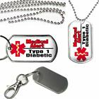 Medical Alert Type 1 Diabetic Dog Tag Clip on Key Chain or Necklace on Chain