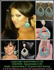 Khloe Kardashian Kris Jenner Style Pave Diamond Long HipHop Pear Hoop Earrings
