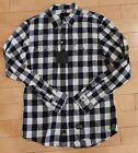 KR3W MENS CASUAL FLANNEL LONG SLEEVE SHIRT BUTTON UP NAVY WHITE MENS SZ M