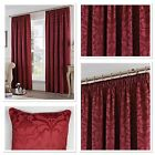 "Fusion Eastbourne Woven Jacquard Fully Lined 3"" Pencil Pleat Curtains Burgundy"