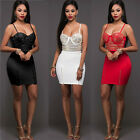 Women 2 Piece Bodycon Two Piece Crop Top and Skirt Set Lace Up Dress Party