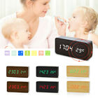 Modern Wood Digital LED Alarm Clock Thermometer Timer Calendar Voice Control New