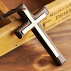 Wooden Cross Pendant Necklace Long for Woman Men Vintage Wood Christian Fashion image