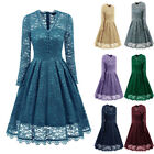 Women's Long Sleeves Vintage 50s Wedding Party Cocktail Dress Prom Buttons DL010