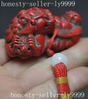old chinese Lifelike red coral resin carved lion beast statue amulet pendant