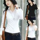 US Women Slim Short/Long Sleeve Career T Shirt Button Down Blouse OL Formal Tops