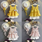 3PCS Toddler Baby Kid Girl Outfits Clothes Floral Vest T-shi