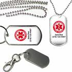 Personalized Medical Alert Type 1 Diabetic on Insulin Dog Tag Key Chain Necklace