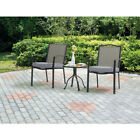 3 Piece Outdoor Bistro Set 2 Cushioned Seats Patio Deck Furniture Square Table