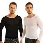 Men's Sports Sheer Tight Muscle Long Sleeve See Through Mesh T Shirt Top Tee