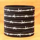 Set of Barbed Wire Thin Silver Gray Line Wristbands Lot - Corrections Officers